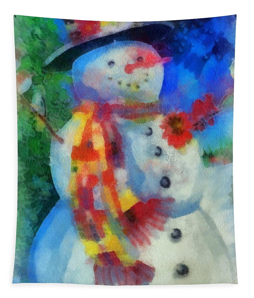 Winter Tapestry featuring the photograph Snowman Photo Art 53 by Thomas Woolworth