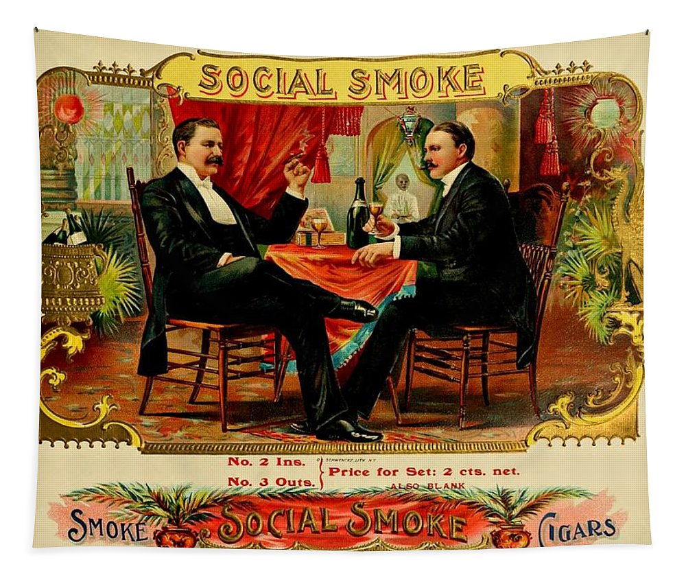 Social Tapestry featuring the painting Social Smoke Vintage Cigar Advertisement by Movie Poster Prints