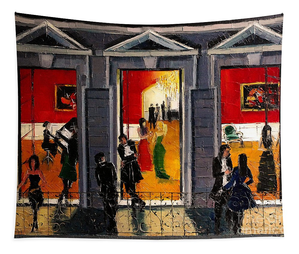 Soiree Parisienne Tapestry featuring the painting Soiree Parisienne by Mona Edulesco