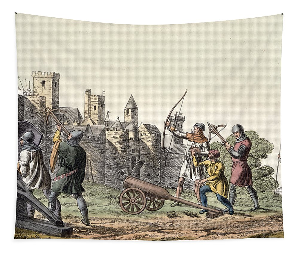 Print Tapestry featuring the drawing Soldiers And Artillery Of The 15th by Italian School