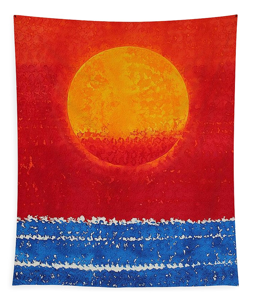 Sun Tapestry featuring the painting Solstice Sunrise Original Painting Sold by Sol Luckman