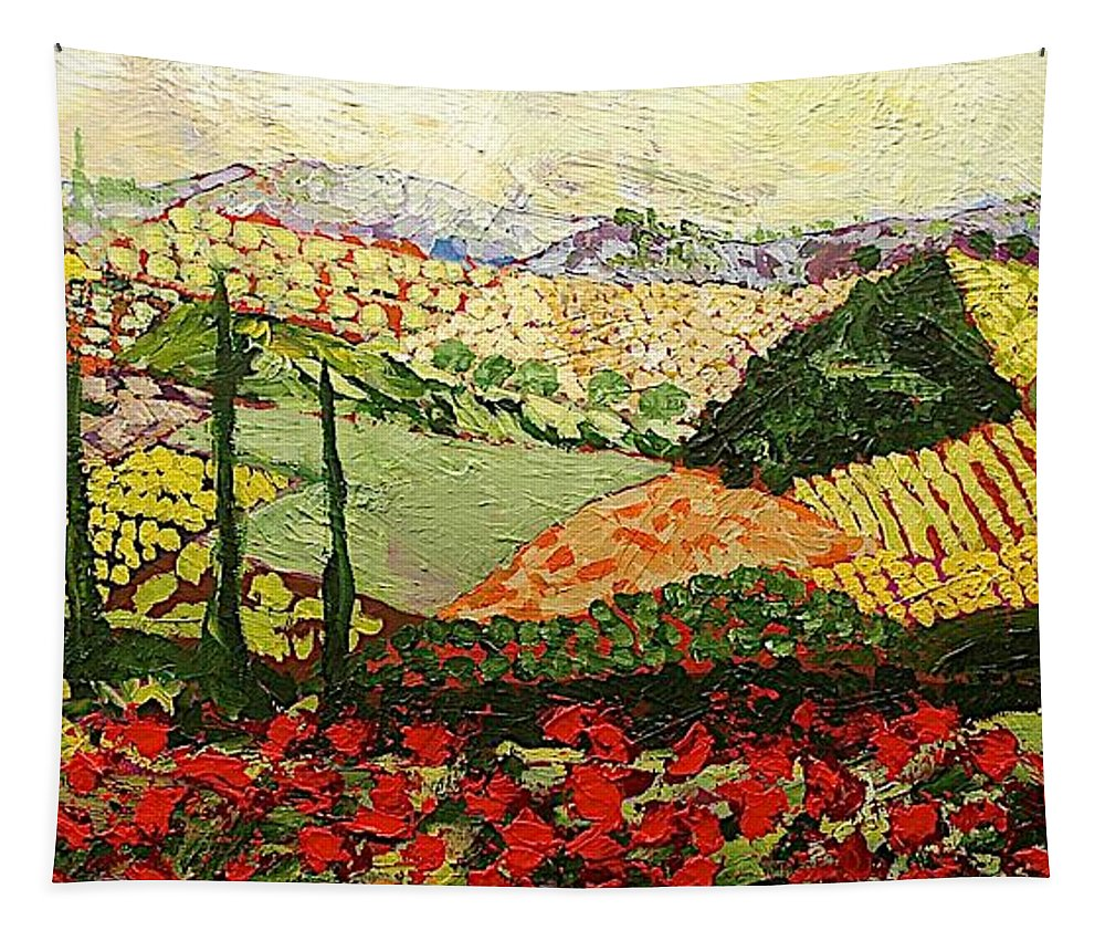 Landscape Tapestry featuring the painting Something Red by Allan P Friedlander