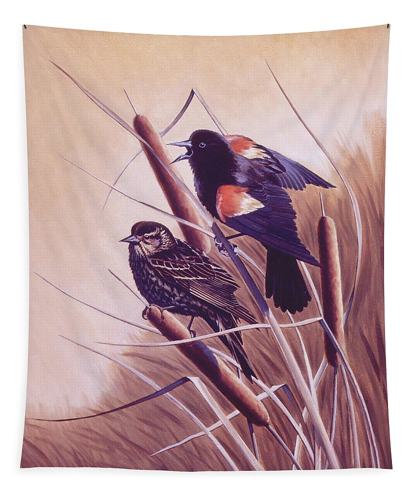 Red-winged Blackbird Tapestry featuring the painting Song Of The Marsh by Richard De Wolfe