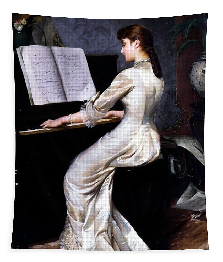 Song Tapestry featuring the painting Song Without Words, Piano Player, 1880 by George Hamilton Barrable