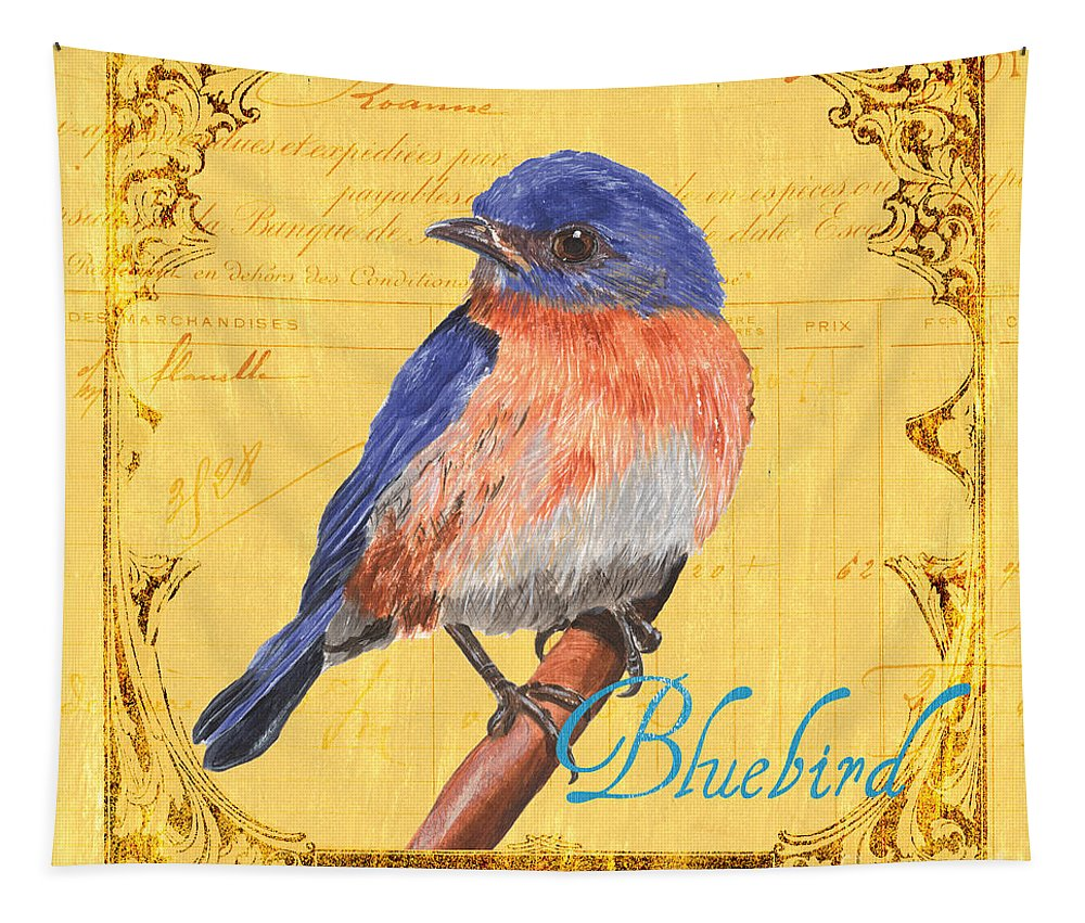 Bird Tapestry featuring the painting Colorful Songbirds 1 by Debbie DeWitt
