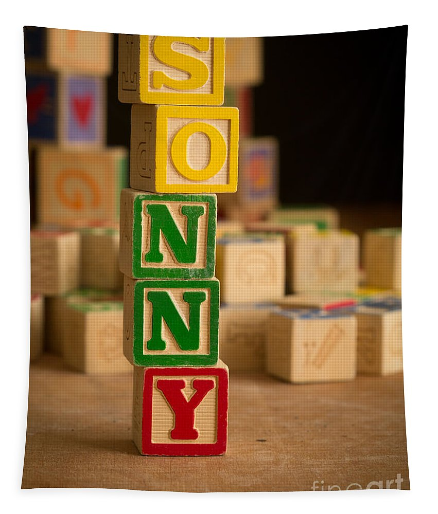 Alphabet Tapestry featuring the photograph Sonny - Alphabet Blocks by Edward Fielding