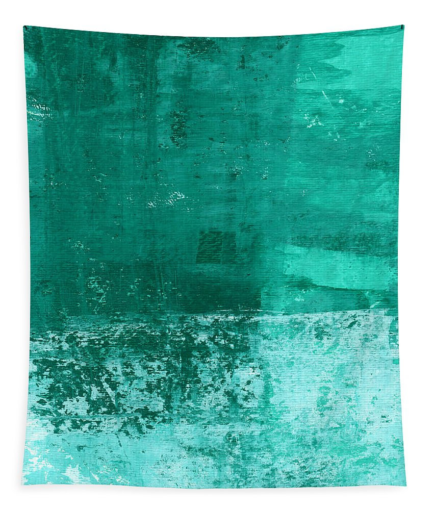 Abstract Art Tapestry featuring the painting Soothing Sea - Abstract Painting by Linda Woods