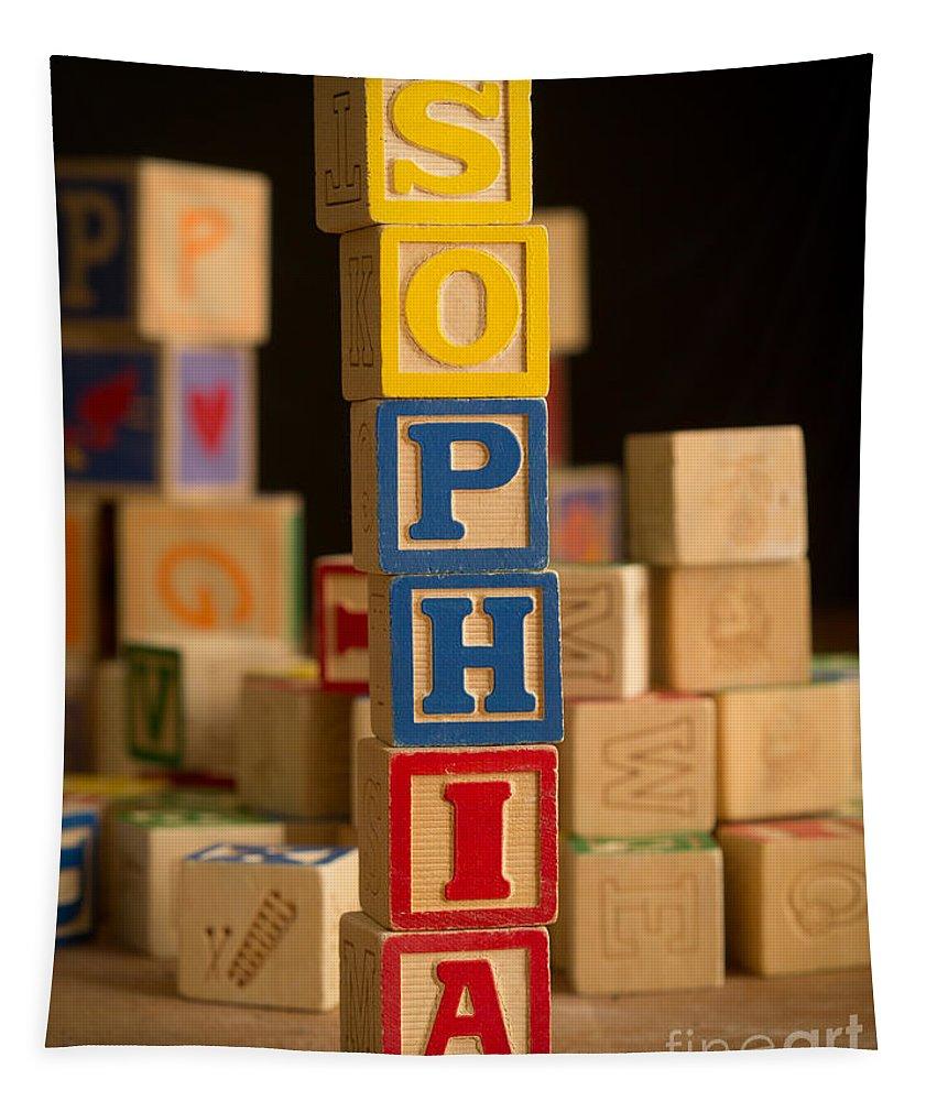 Alphabet Tapestry featuring the photograph Sophia - Alphabet Blocks by Edward Fielding