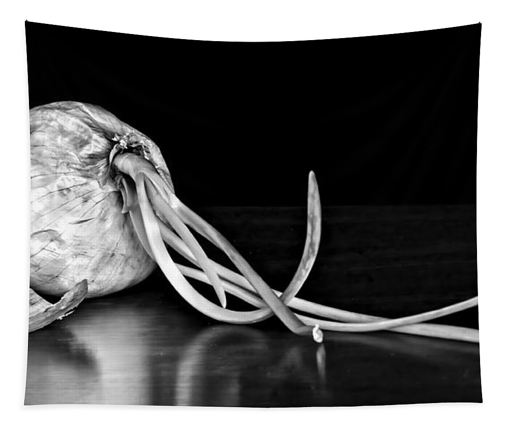 Onion Tapestry featuring the photograph Soupe Du Jour - Bw by Nikolyn McDonald