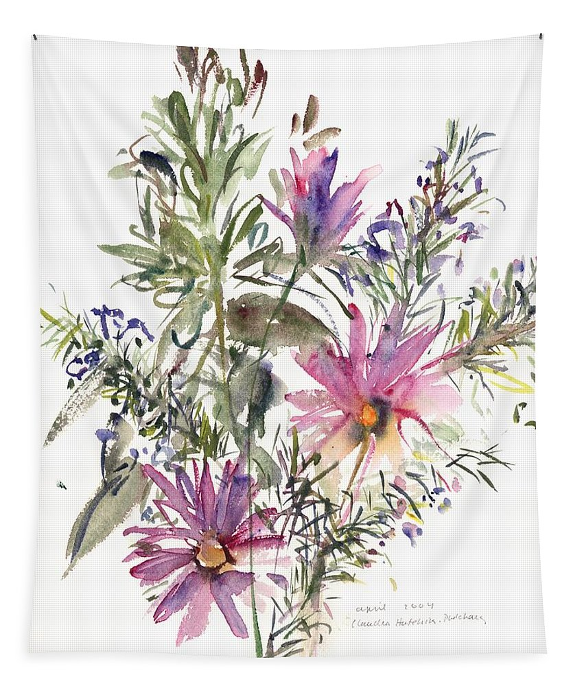 Flower Tapestry featuring the painting South African Daisies And Lavander by Claudia Hutchins-Puechavy
