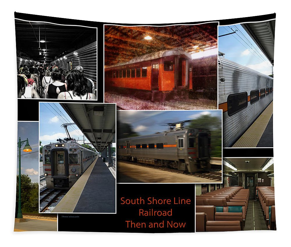South Shore Line Tapestry featuring the photograph South Shore Line Railroad Collage by Thomas Woolworth