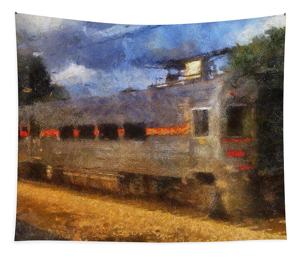 South Shore Line Tapestry featuring the photograph South Shore Train Photo Art 02 by Thomas Woolworth