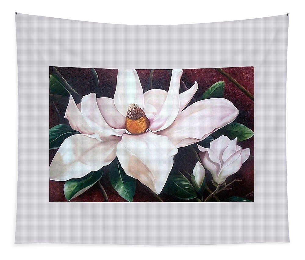 Magnolia Southern Bloom Floral Botanical White Tapestry featuring the painting Southern Beauty by Karin Dawn Kelshall- Best