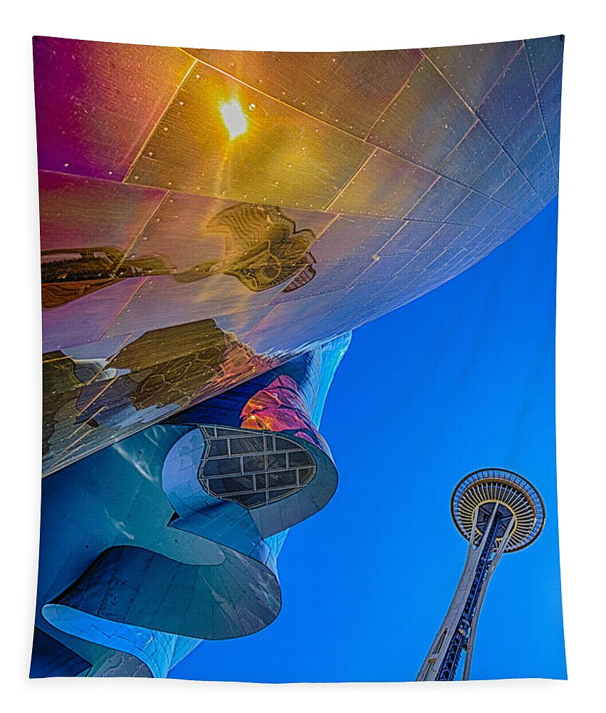 Space Needle Tapestry featuring the photograph Space Needle And Emp In Perspective Hdr by Scott Campbell