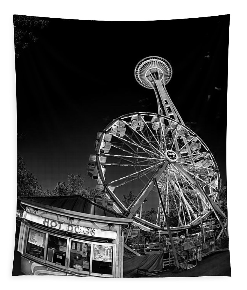 Space Needle Tapestry featuring the photograph Space Needle Fights The End Of The World by Scott Campbell