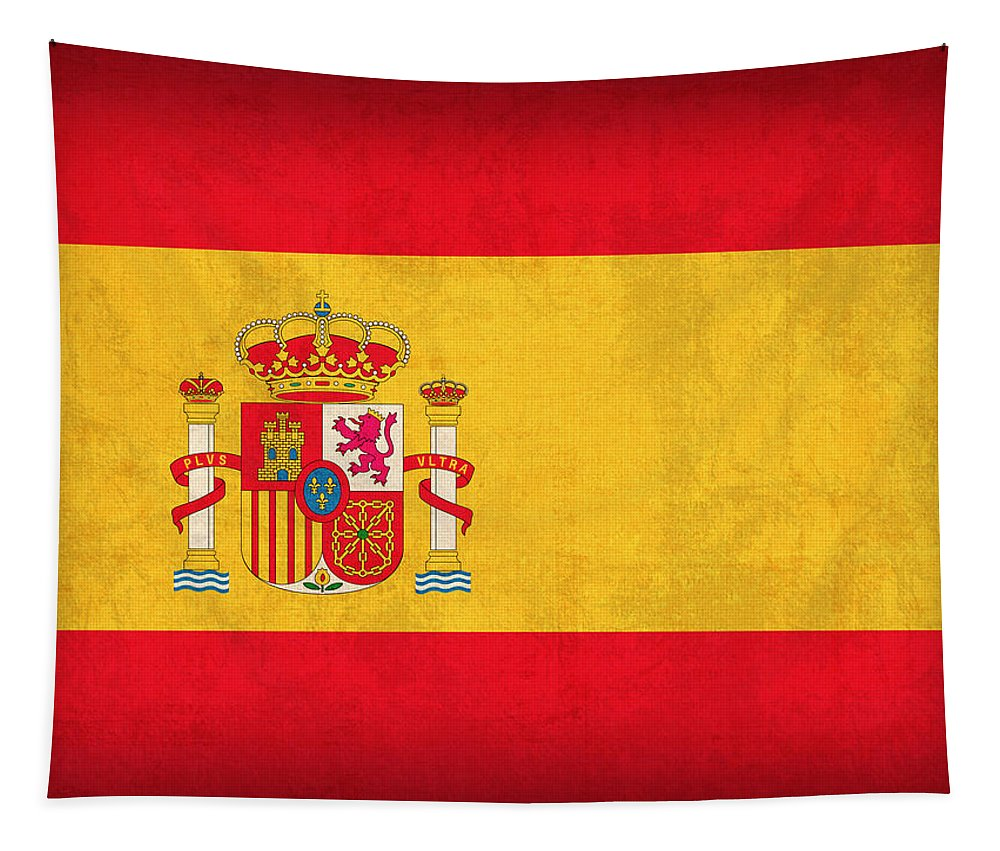Spain Flag Vintage Distressed Finish Spanish Madrid Barcelona Europe Nation Country Tapestry featuring the mixed media Spain Flag Vintage Distressed Finish by Design Turnpike