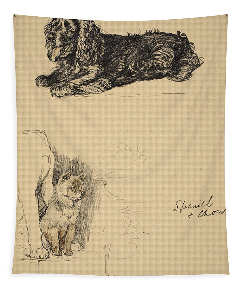 Dog Tapestry featuring the drawing Spaniel And Chow, 1930, Illustrations by Cecil Charles Windsor Aldin
