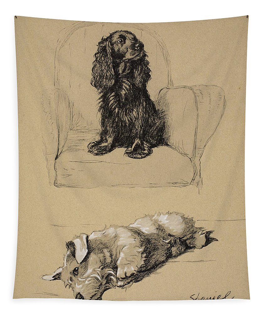 Dog Tapestry featuring the drawing Spaniel And Sealyham, 1930 by Cecil Charles Windsor Aldin