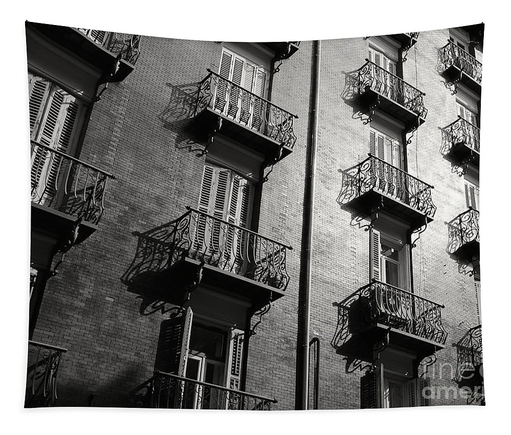 Balconies Tapestry featuring the photograph Spanish Balconies - Black And White by Carol Groenen