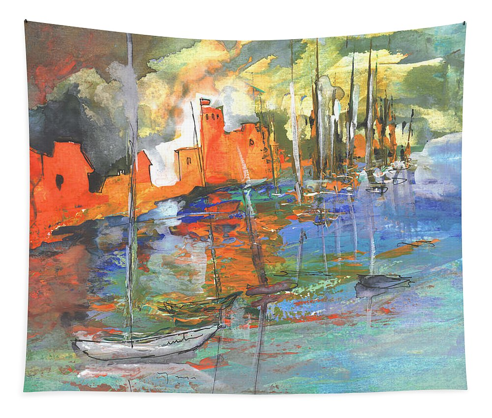 Impressionism Tapestry featuring the painting Spanish Harbour 02 by Miki De Goodaboom