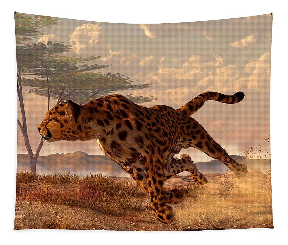 Cheetah Tapestry featuring the digital art Speeding Cheetah by Daniel Eskridge