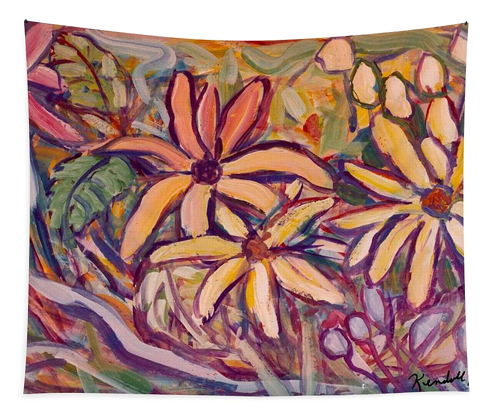 Flowers Tapestry featuring the painting Spinning by Kendall Kessler