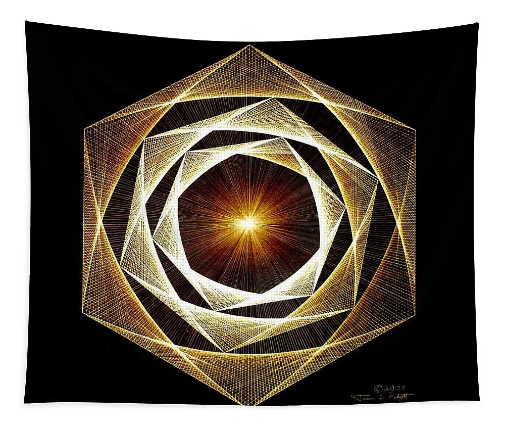 Fractal Tapestry featuring the drawing Spiral Scalar by Jason Padgett