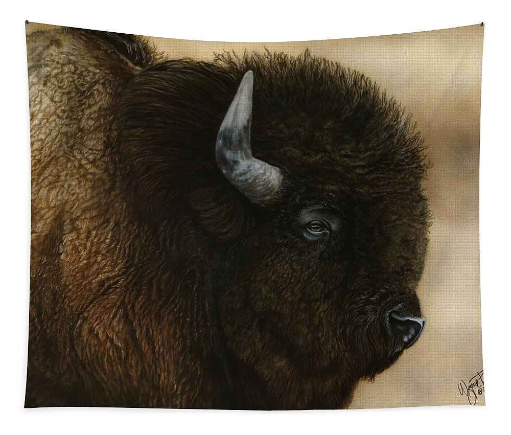 Buffalo Tapestry featuring the painting Spirit Of The Plains by Wayne Pruse