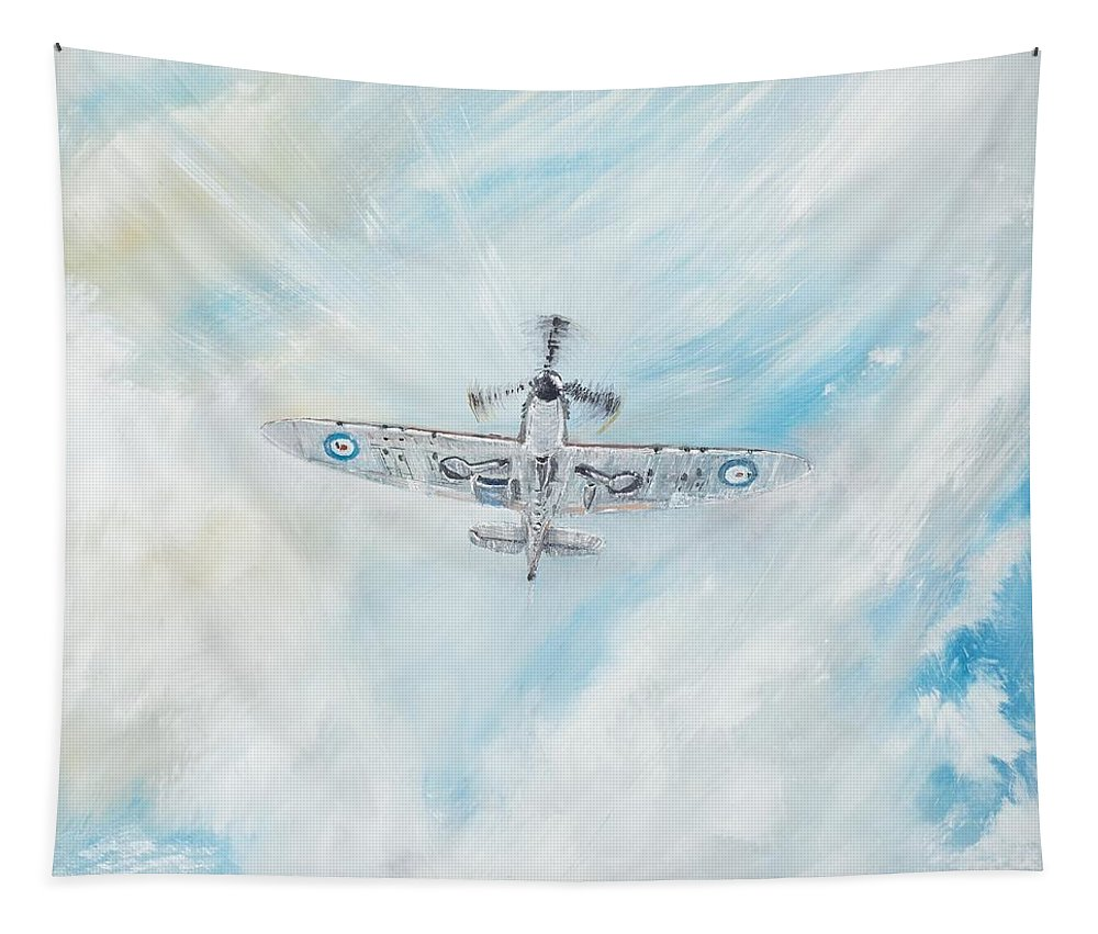 Spitfire Tapestry featuring the painting Spitfire by Vincent Alexander Booth