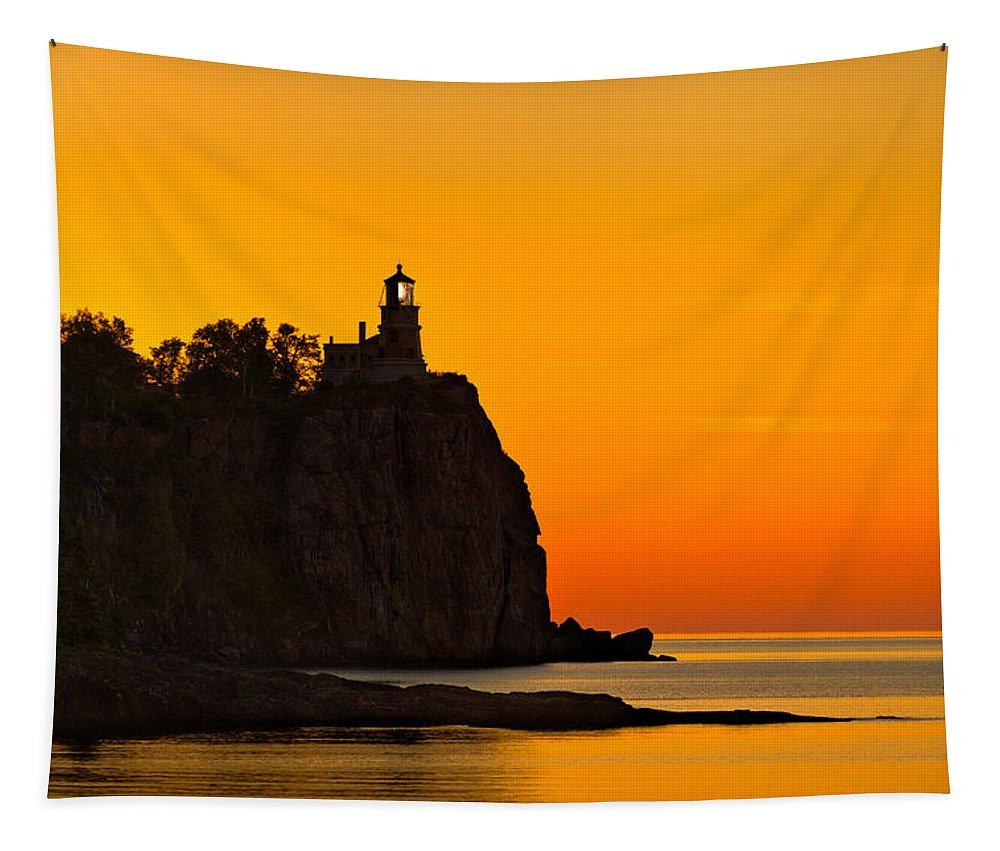 Split Tapestry featuring the photograph Split Rock Lighthouse by Steve Gadomski