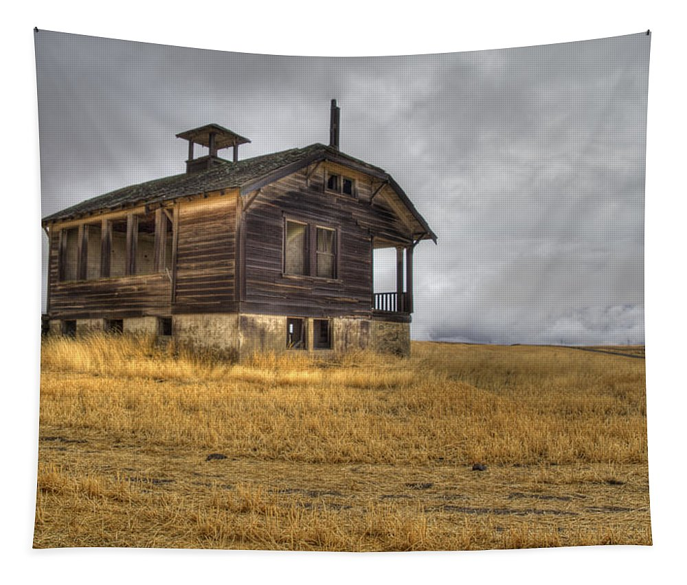 School Tapestry featuring the photograph Spooky Old School House by Jean Noren