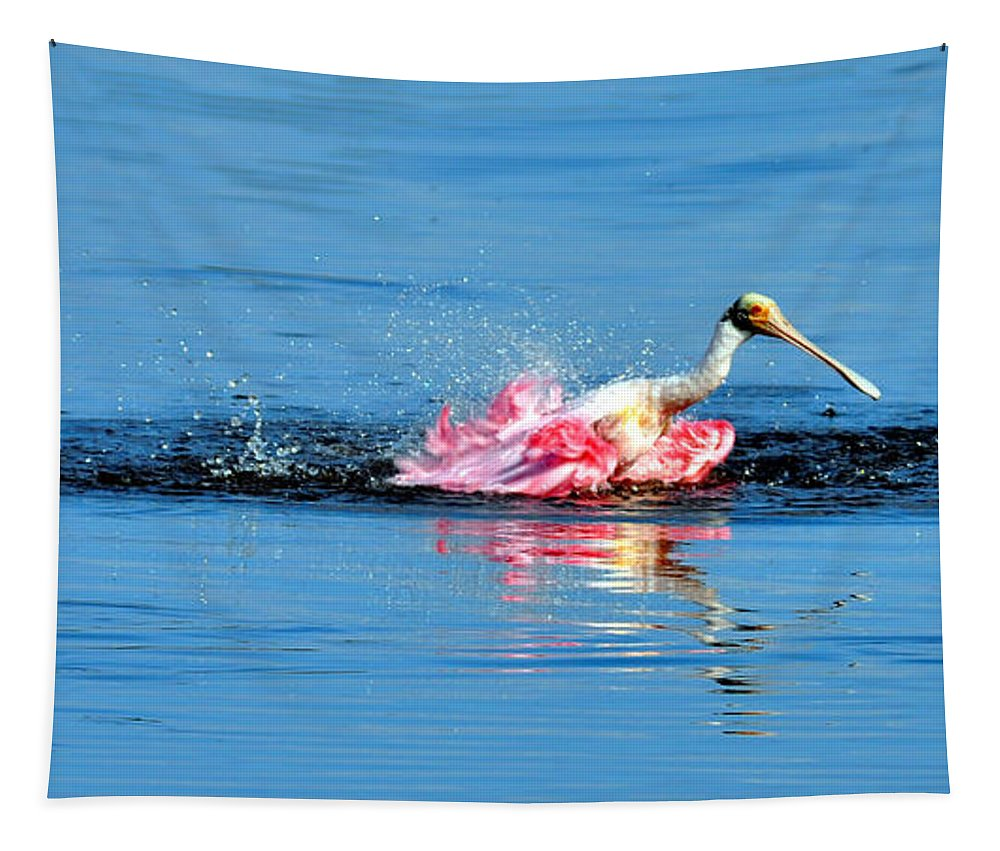 Spoonbill Tapestry featuring the photograph Spoonbill Bath Time by Davids Digits