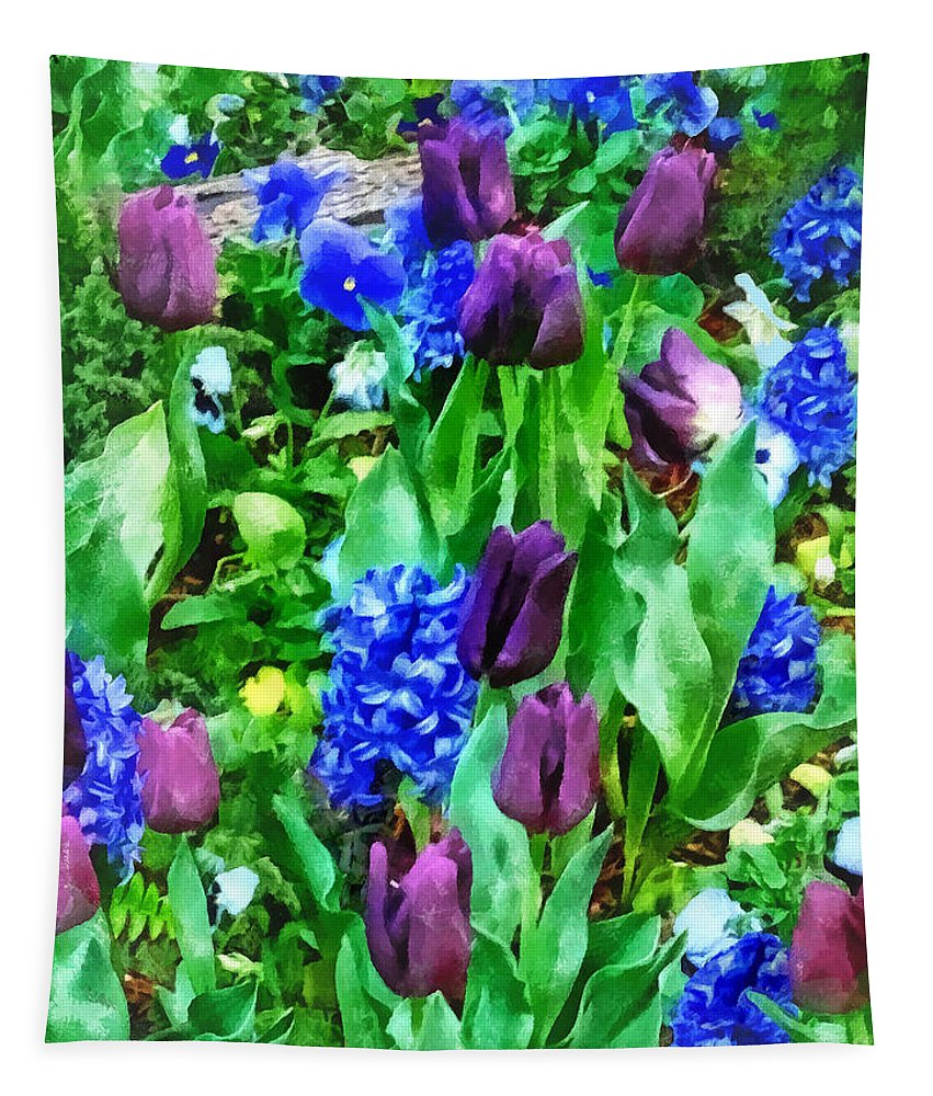 Garden Tapestry featuring the photograph Spring Garden In Shades Of Purple by Susan Savad