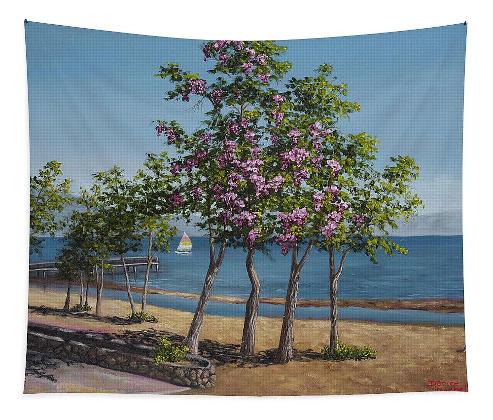 Landscape Tapestry featuring the painting Spring In Kings Beach Lake Tahoe by Darice Machel McGuire