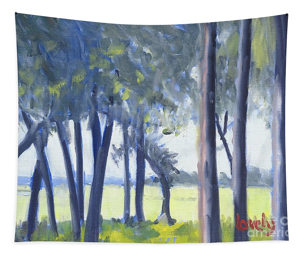 Spring Tapestry featuring the painting Spring Marsh From Deerfield Road by Candace Lovely
