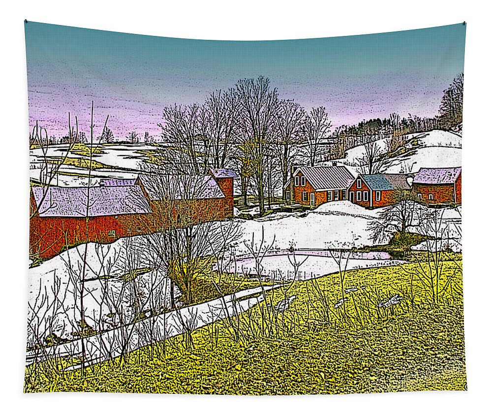 Landscape Tapestry featuring the digital art Spring Melt At Jenne Farm by Nancy Griswold