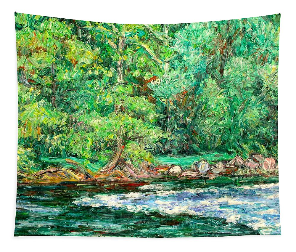Rapids Tapestry featuring the painting Spring Rapids On The New River by Kendall Kessler