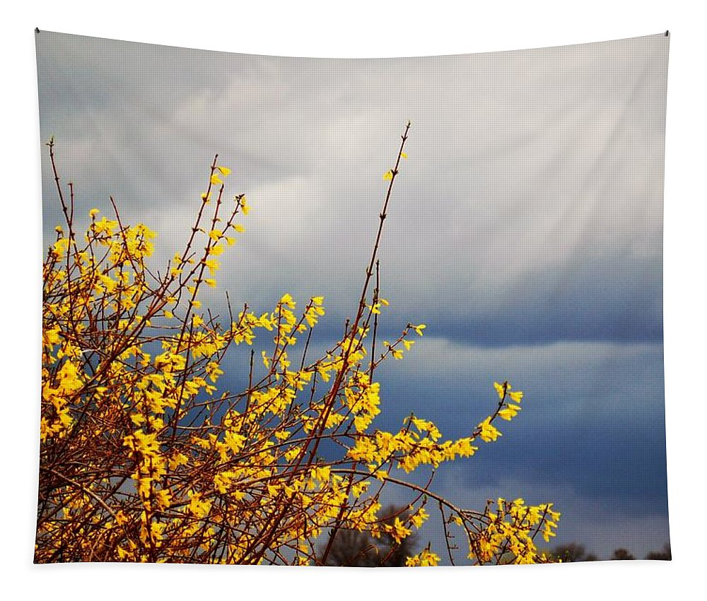 Forsithie Tapestry featuring the photograph Spring Storm by Annette Persinger