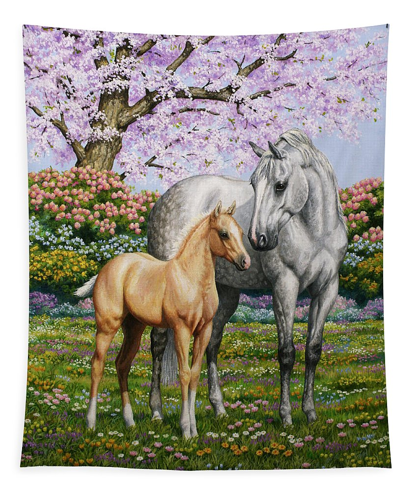 Horse Tapestry featuring the painting Spring's Gift - Mare and Foal by Crista Forest