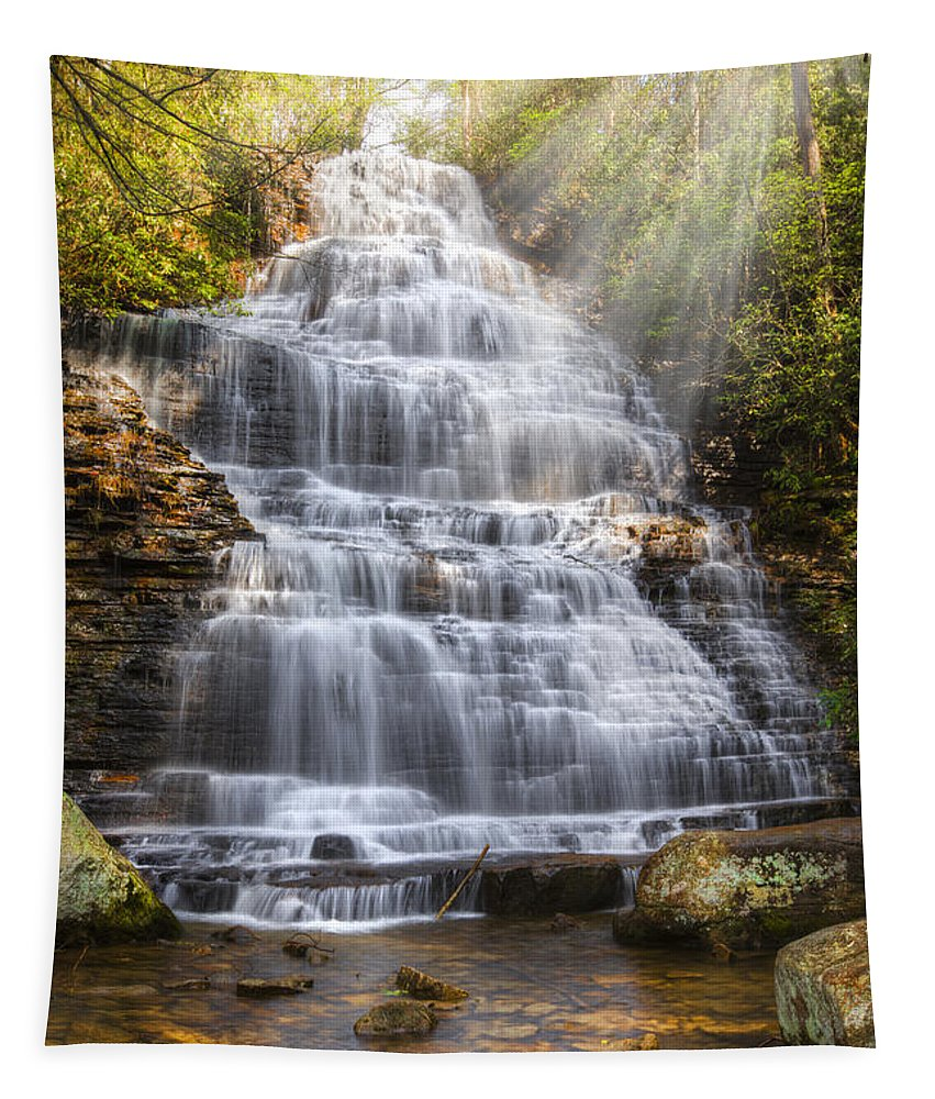 Appalachia Tapestry featuring the photograph Springtime At Benton Falls by Debra and Dave Vanderlaan