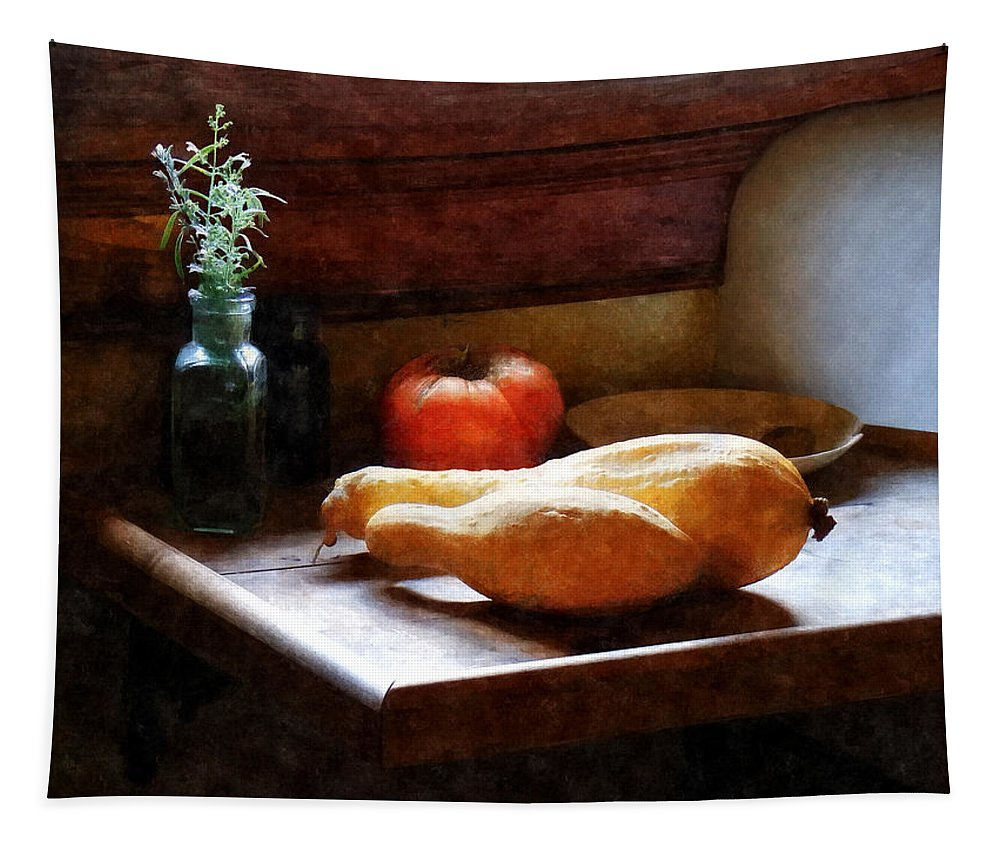 Tomato Tapestry featuring the photograph Squash And Tomato by Susan Savad