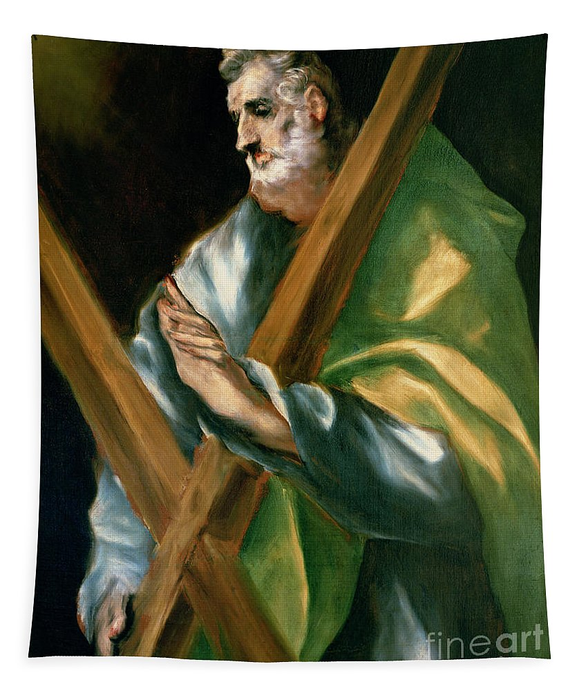 Saint Andrew; Apostle; Martyr; Male; Beard; Cross; Crucifixion; Crucified; Attribute Tapestry featuring the painting St Andrew by El Greco Domenico Theotocopuli