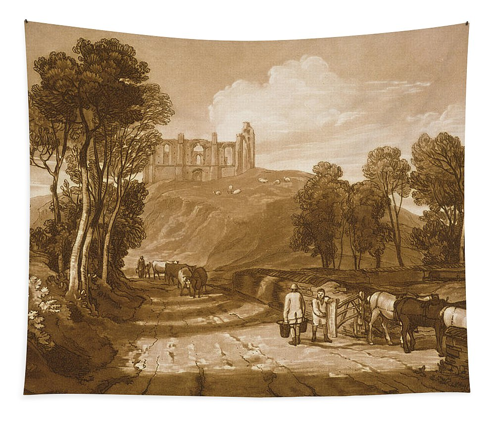 Turner Tapestry featuring the painting St Catherines Hill Near Guildford by Joseph Mallord William Turner