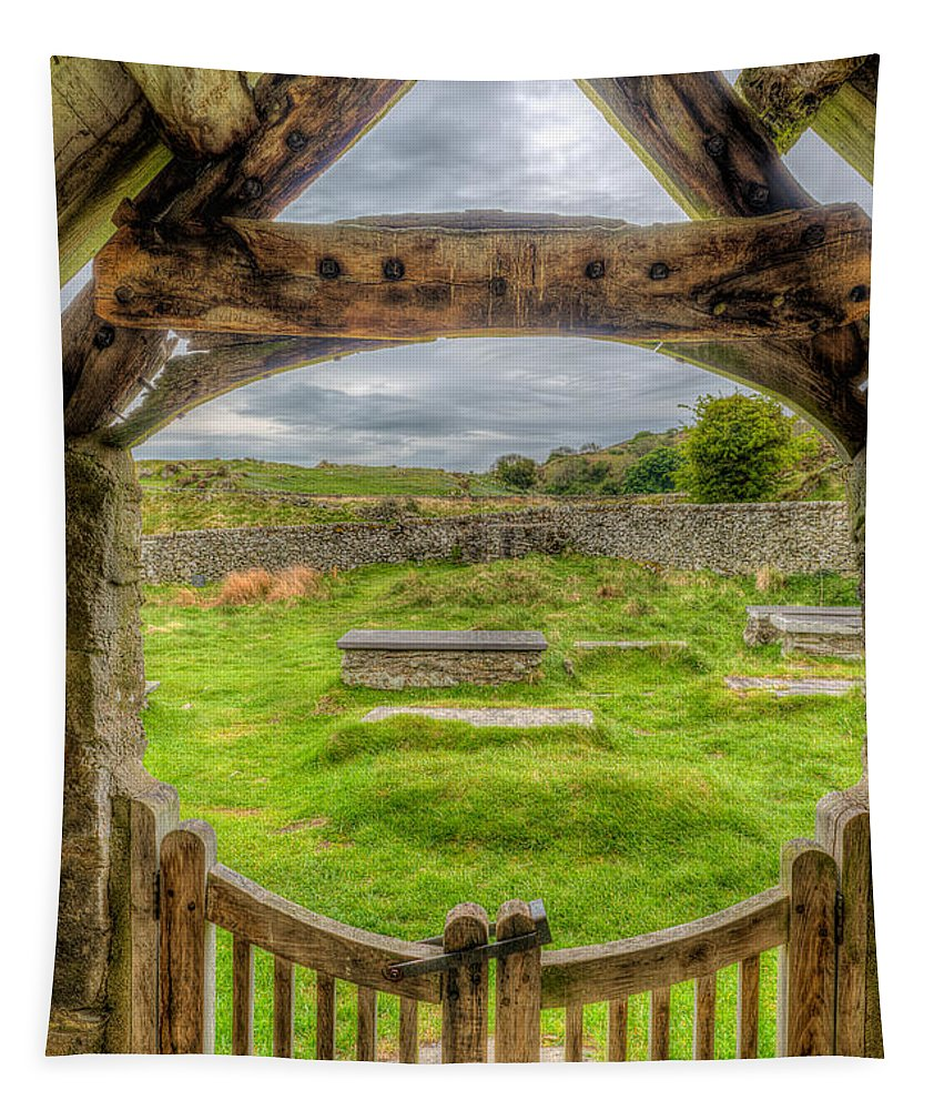 British Tapestry featuring the photograph St Celynnin Graveyard by Adrian Evans