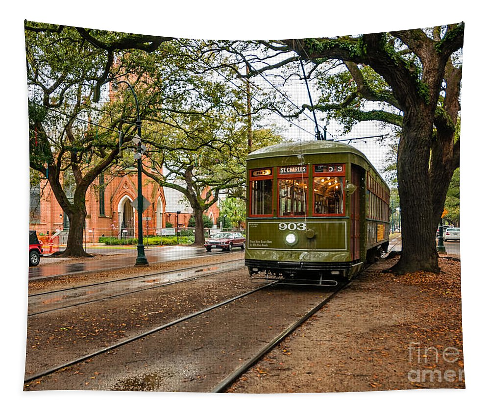 Garden District Tapestry featuring the photograph St. Charles Ave. Streetcar In New Orleans by Kathleen K Parker