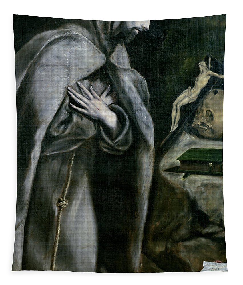 Saint Francois D'assise; Male; Praying; Prayer; Crucifix; Habit; Franciscan Monk; Kneeling; Chiaroscuro; Pious; Piety Tapestry featuring the painting St Francis Of Assisi by El Greco Domenico Theotocopuli