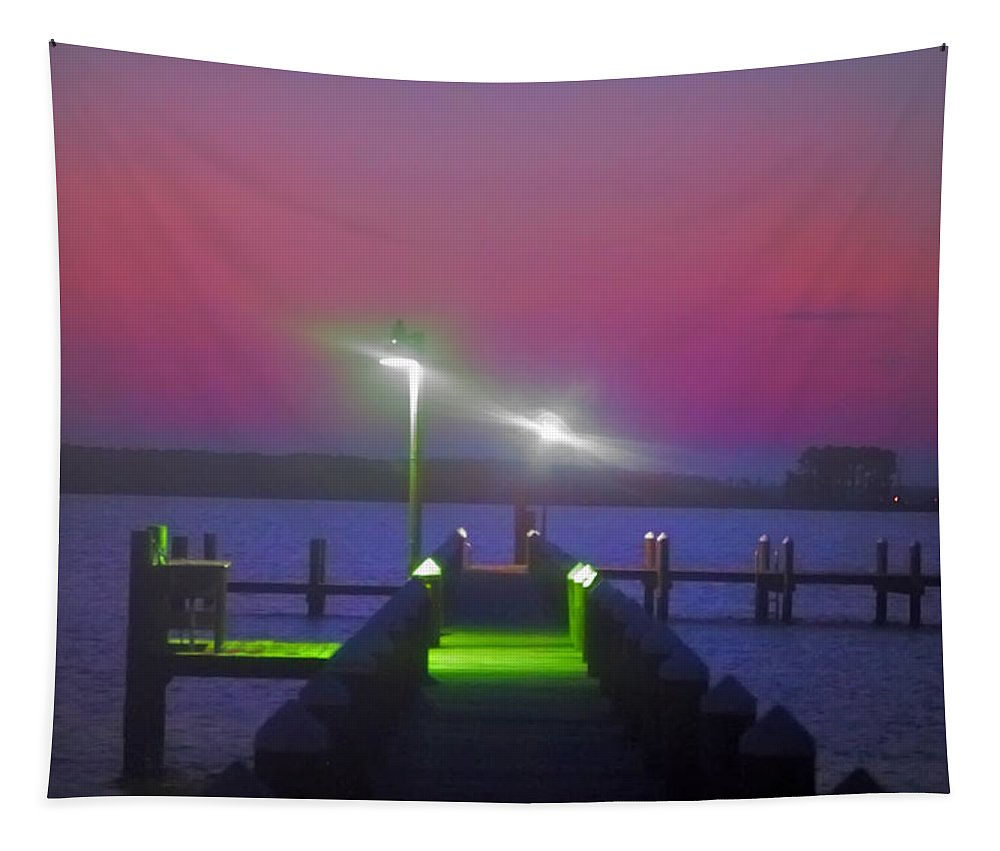 St. Tapestry featuring the photograph St. Georges Island Dock - Just Before Sunrise by Bill Cannon