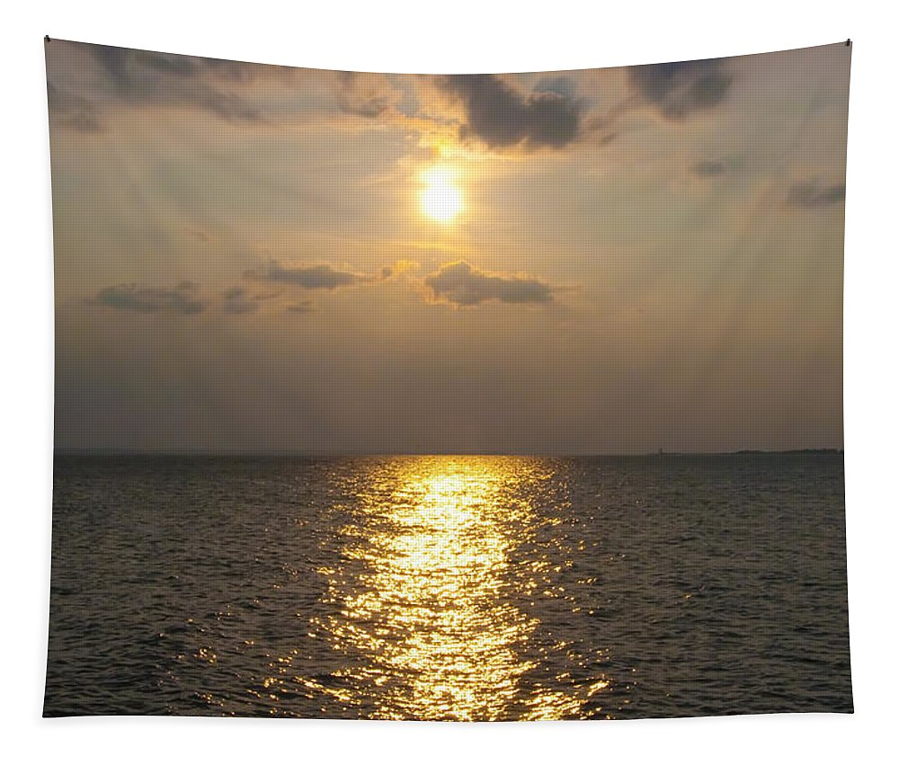 St George's Tapestry featuring the photograph St George's Island Sunset by Bill Cannon