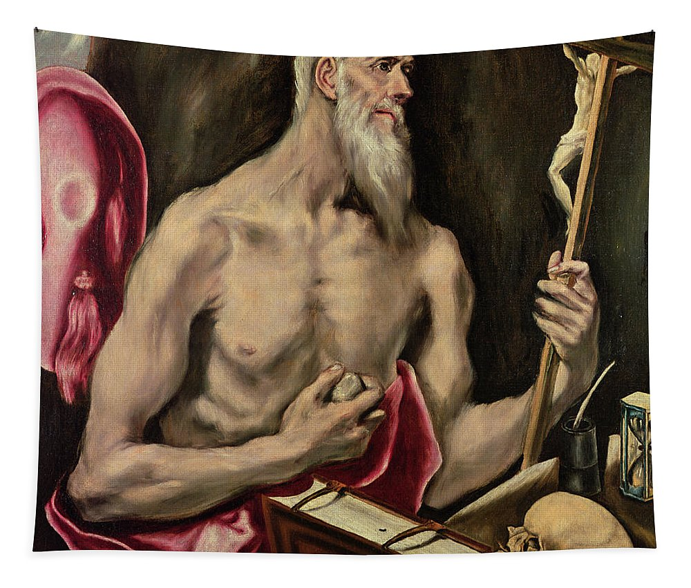 Hourglass; Saint; Hour Glass; Sandglass; Sablier; Saint Tapestry featuring the painting St Jerome by El Greco Domenico Theotocopuli