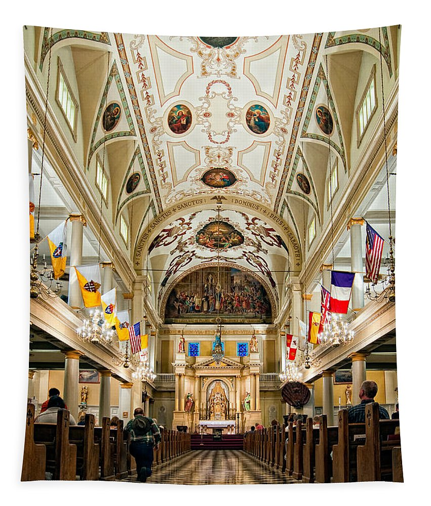 French Quarter Tapestry featuring the photograph St. Louis Cathedral by Steve Harrington
